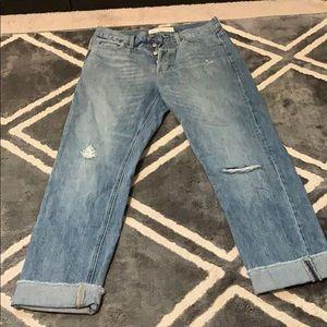 Distressed vintage straight leg style jeans